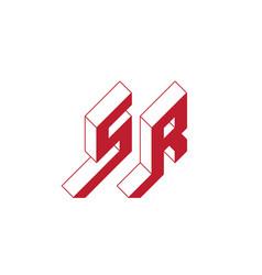 Sr - monogram or logotype isometric 3d font for vector