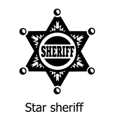 star sheriff icon simple black style vector image