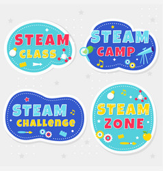 Steam class camp and zone colorful stickers or vector