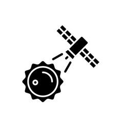 Sun observation process black glyph icon vector