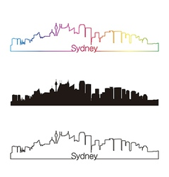 Sydney V2 skyline linear style with rainbow vector image