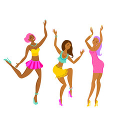 three bright dancing girls vector image