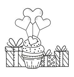 Valntines day bakery cupcake cartoon vector