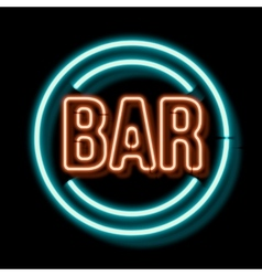 Vintage neon sign with an indication of the bar vector image
