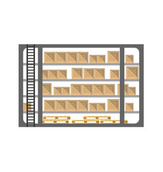 warehouse stand with delivery boxes in flat design vector image