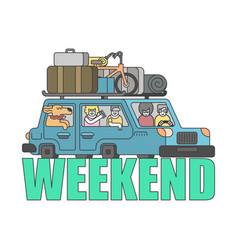 Weekend outline style car family go to camping vector