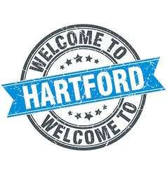 Welcome to hartford blue round vintage stamp vector