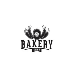 wheat cupcake vintage bakery logo vector image