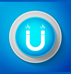 white magnet icon isolated on blue background vector image