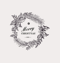 wreath with christmas plants vector image