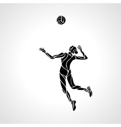 Female volleyball player stylized silhouette vector image vector image