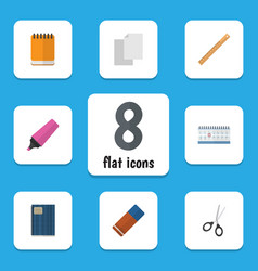 Flat icon stationery set of rubber straightedge vector