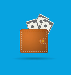 flat wallet and money icon vector image