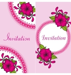 Floral invitation card with bright flowers vector image vector image