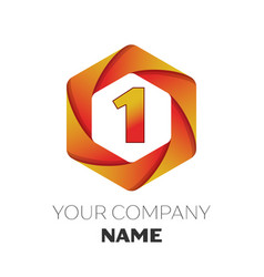 Number one symbol on colorful hexagonal vector