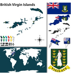 British Virgin Islands map world vector image vector image