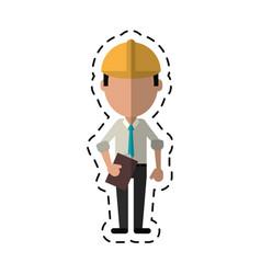cartoon business man construction clipboard helmet vector image
