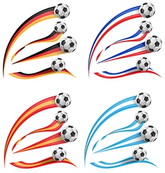 germany greece france spain flag set with soccer vector image
