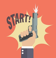 Hand firing a gun with start word vector image vector image