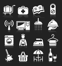 Hotel white icons set vector image vector image