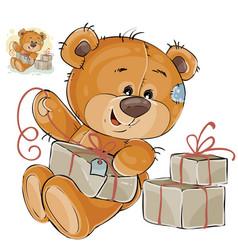 a brown teddy bear tie a vector image vector image