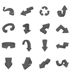 Arrow icons set black monochrome style vector image
