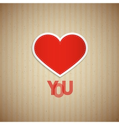 I Love You Theme Heart and Title on Cardboard vector image vector image