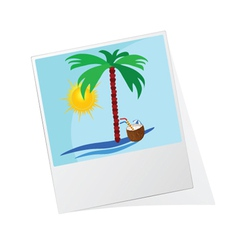 photo frame with beach icon vector image