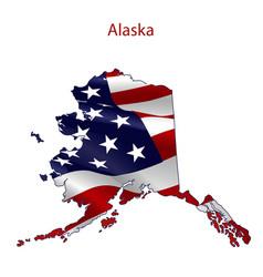 alaska full of american flag vector image