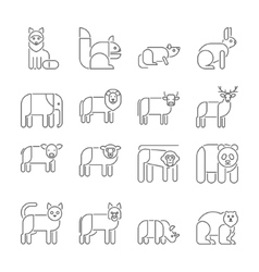 Animal icons thin line style flat design vector image vector image