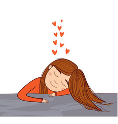girl dreaming in love with red hearts vector image vector image