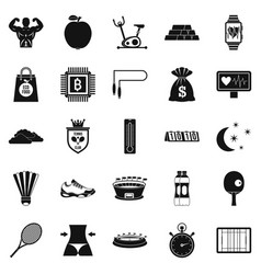 lawn tennis icons set simple style vector image vector image