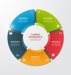 Pie chart infographic template 5 options vector