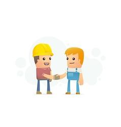 Agreement between builder and mechanic vector