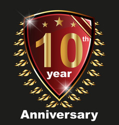 Anniversary 10 th label with ribbon vector
