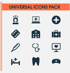 Antibiotic icons set collection of retreat cap vector
