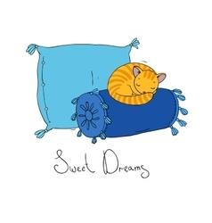 Beautiful pillows and cute cat vector