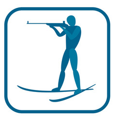 Biathlon man emblem vector