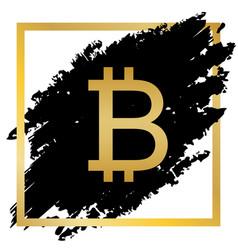 Bitcoin sign golden icon at black spot vector