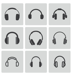 black headphone icons set vector image