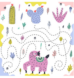 Bright maze game for kids with a funny llama vector