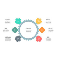 business infographics organization chart with 6 vector image