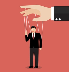 Businessman marionette on ropes vector image