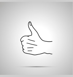 cartoon hand in thumbs up gesture simple outline vector image