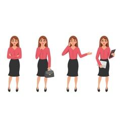 Cartoon Woman Gesture Set vector