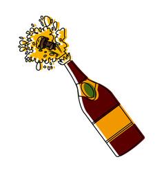champagne bottle open vector image