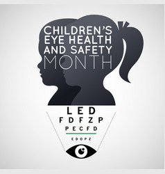 Childrens eye health and safety month logo icon vector