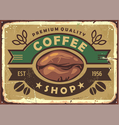 coffee shop vintage old sign post with coffee bean vector image