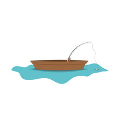 Color silhouette wooden fishing boat in lake and vector