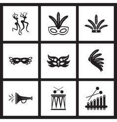 Concept flat icons in black and white Brazilian vector